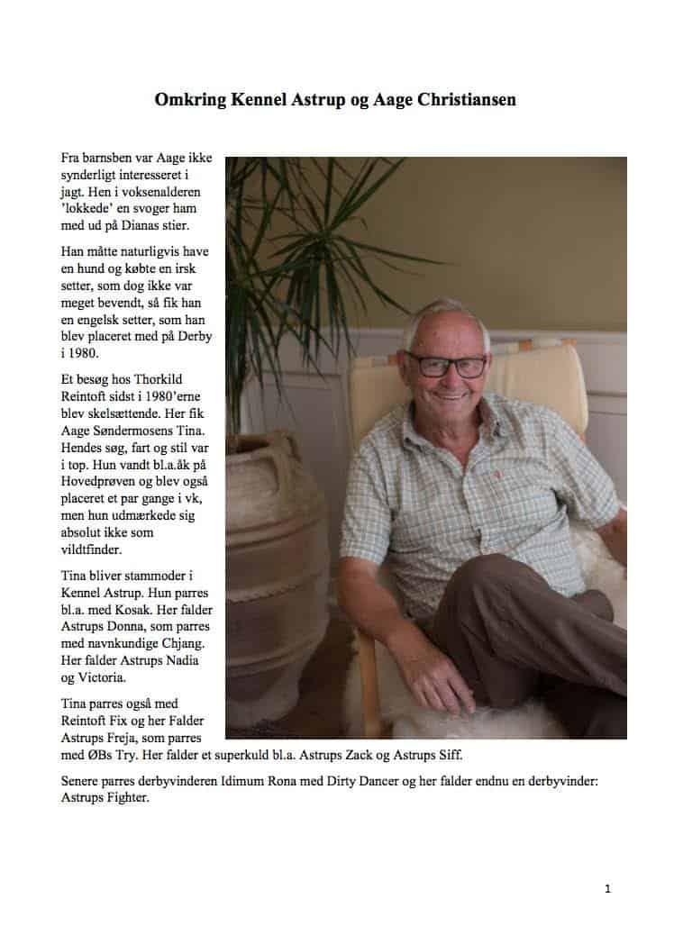 Historie om Kennel Astrups, skrevet af Niels Mølgaard Ovesen
