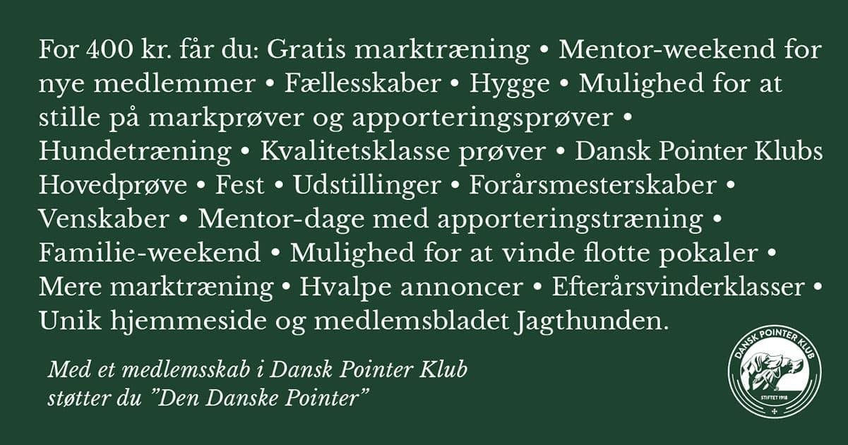 Tid til betaling af dit årskontingent i Dansk Pointer Klub.